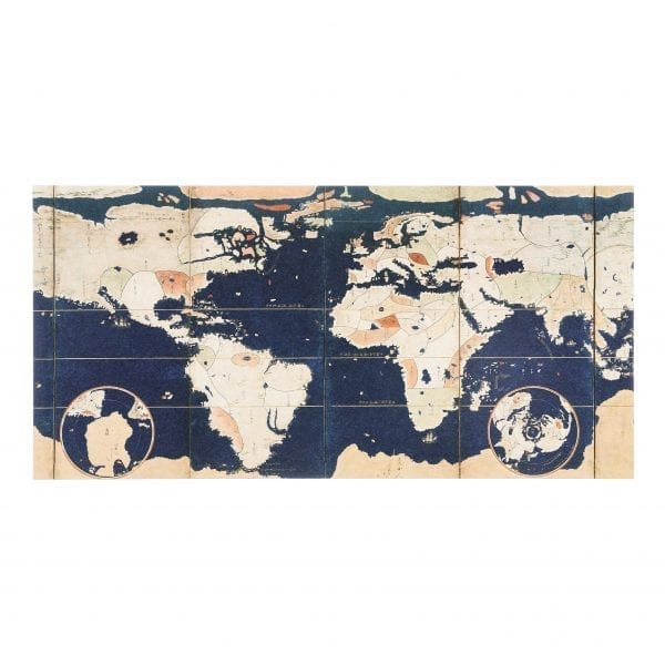 Postcard Pair of Namban screens with maps of the world and Japan