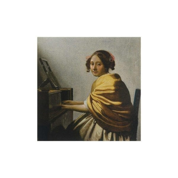 Postcard Young Woman Seated at a Virginal