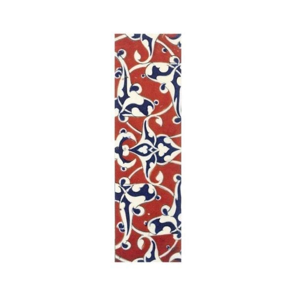 Bookmark Border tile with blue and white arabesques