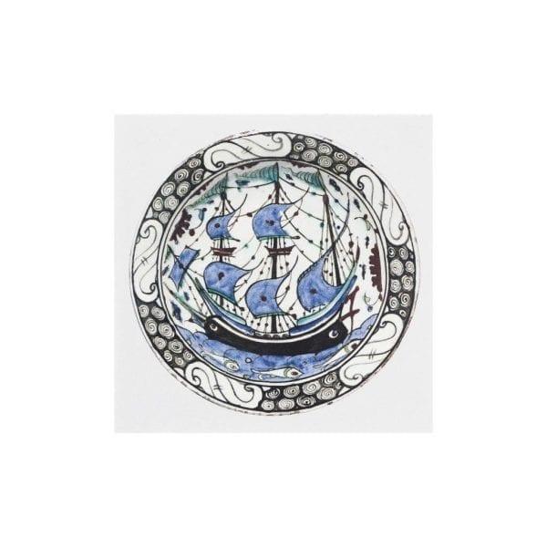 Postcard Dish with a ship motif