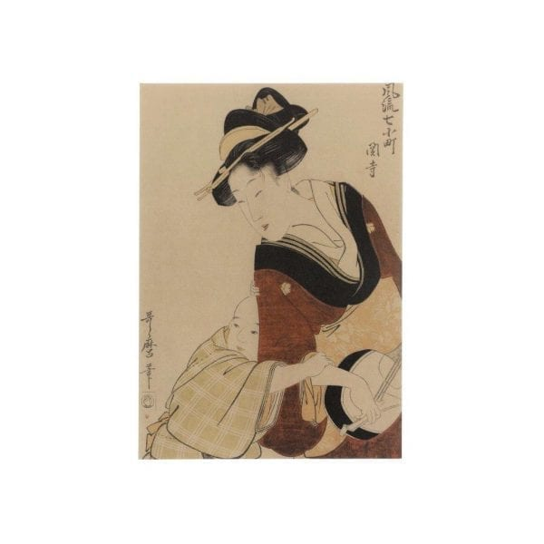 Postcard Young Mother Playing a Samisen