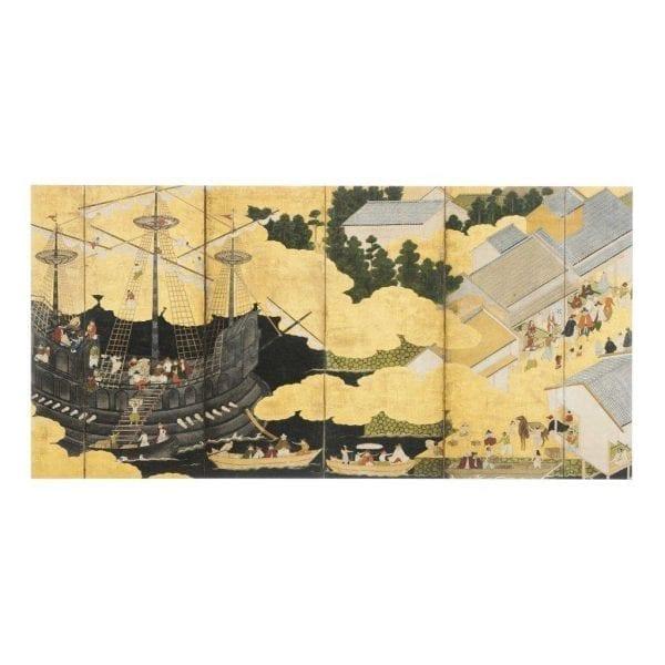 Postcard Pair of namban six-fold screens