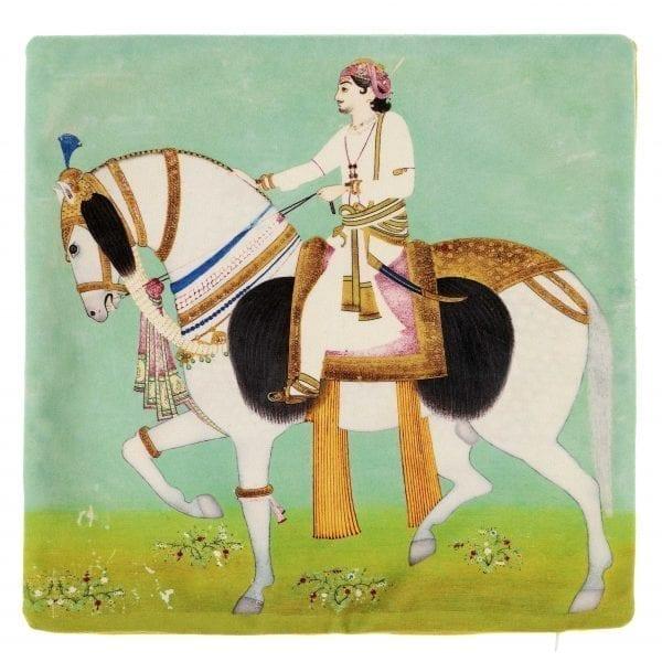 Cushion Cover Equestrian Portrait of Maharao Sheodan Singh of Alwar