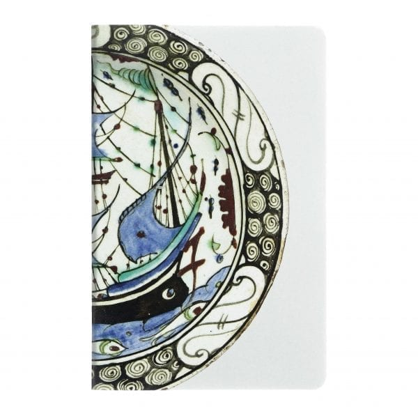 A5 Notebook Dish with a ship motif Iznik
