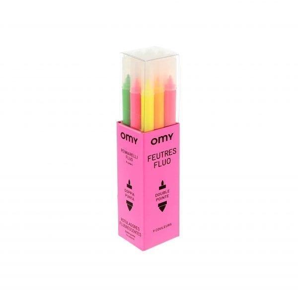 Box of 9 Felt Pens Neon
