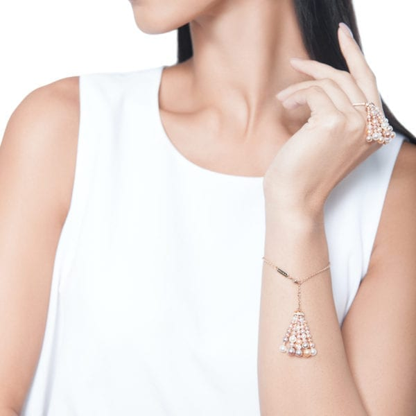 Bahar Gafla Tassel Bracelet with pearls