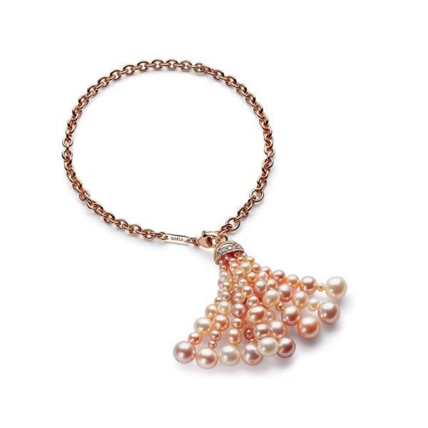 Bahar Gafla Tassel Bracelet with pearls, rose gold
