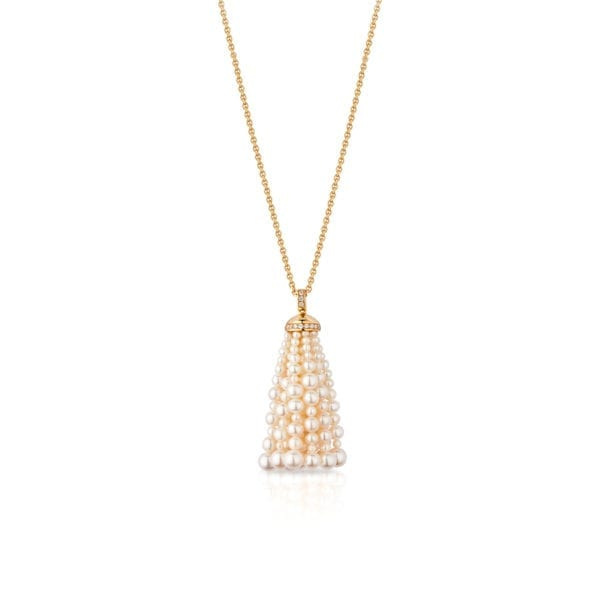 Bahar Gafla Medium Necklace with pearls, yellow gold