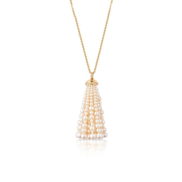 Bahar Gafla Long Necklace with pearls, yellow gold