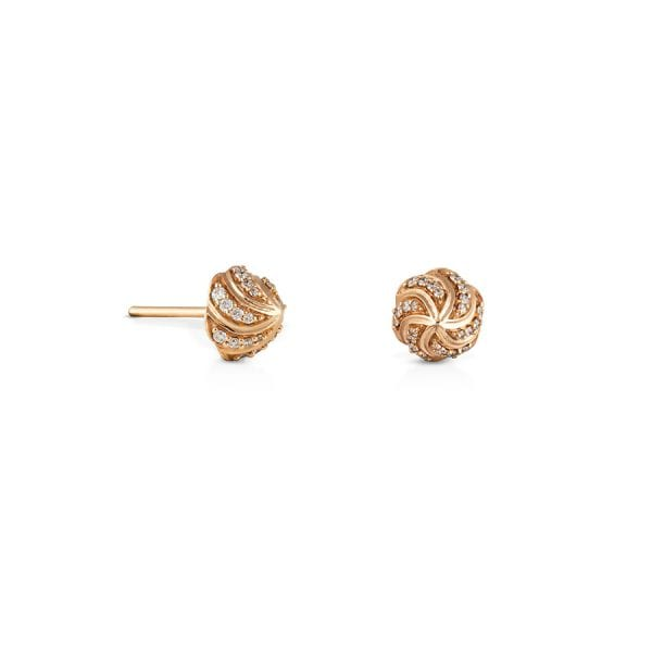 Merwad Gafla Stud Earrings, Rose Gold with Diamonds