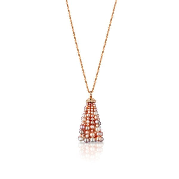 Bahar Gafla Medium Necklace with pearls, rose gold