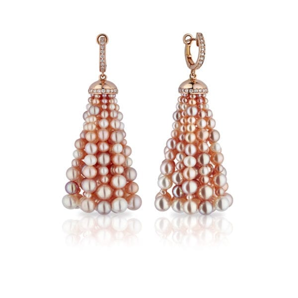 Bahar Gafla Large Earrings with pearls, rose gold