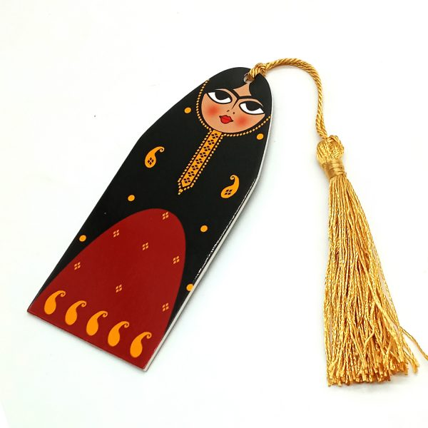 handmade bookmark Lady red and black