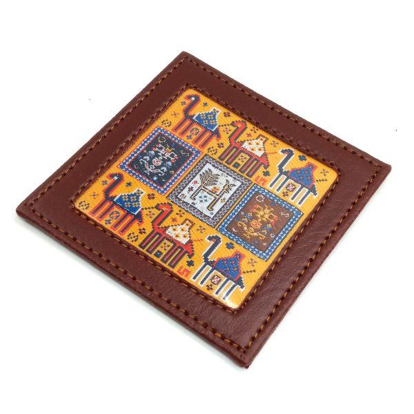 Set of 4 leather coaster